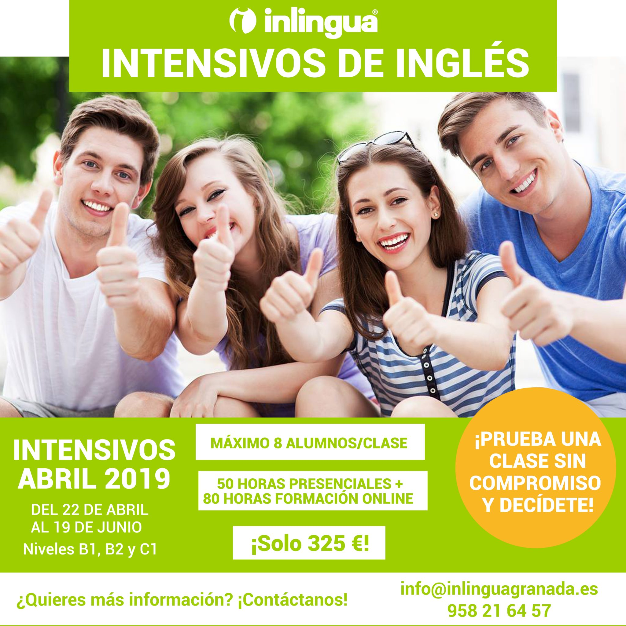 Intensivo de ingles en Granada Abril mayo junio